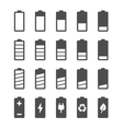 Battery icon set with charge level indicators vector image