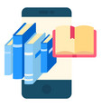 books textbook printed material smartphone library vector image vector image