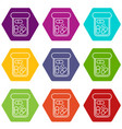 bottle drug icons set 9 vector image