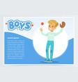 boy palying baseball with glove and ball boys vector image vector image