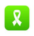breast cancer awareness ribbon icon digital green vector image