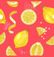 bright hand drawn seamless pattern with lemons vector image vector image