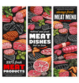butchery beef pork meat poultry and bbq sausages vector image vector image