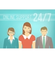 Call Centre Support Team with Headphones vector image vector image
