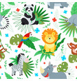 cartoon jungle animal print animals pattern vector image vector image