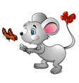cartoon mouse and bright butterfly vector image vector image