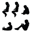 children silhouette sitting happy set vector image