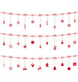 christmas red elements ornaments hanging on rope vector image vector image
