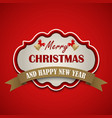christmas retro vintage with ribbon on red vector image