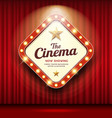 cinema theater sign shaped square light up vector image vector image