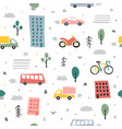 city seamless pattern childish city vector image vector image