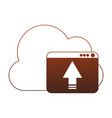 cloud computing upload red lines vector image vector image