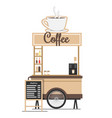 coffee stand with board menu ilustration vector image vector image