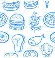 collection of food various style doodles vector image vector image