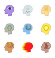 creative thoughts inside man head icons set vector image