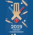 cricket 2019 flyer player bat and ball cricket vector image vector image