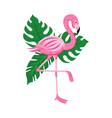 cute cartoon flamingo with tropical leaves vector image vector image