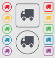 Delivery truck icon sign symbol on the Round and vector image