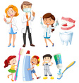Dentist and children brushing teeth vector image vector image