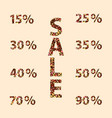 discount numbers with autumn leaves vector image vector image