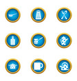 electric kettle icons set flat style vector image vector image