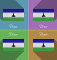 Flags Lesothe Set of colors flat design and long vector image vector image