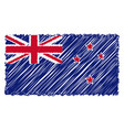 hand drawn national flag of new zealand isolated vector image