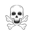 Hand drawn skull with bones icon on white