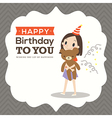 Happy birthday card with a girl hugging teddy bear vector image