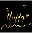 happy golden calligraphy letters on a black vector image