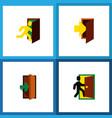 icon flat door set of evacuation entry entrance vector image