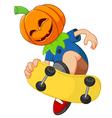 kid playing skateboard wearing hallowen mask vector image