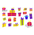 large set with colorful gifts gift icons in flat vector image
