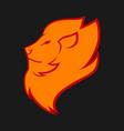 lion head in flames symbol icon vector image vector image