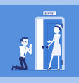man at dentist door vector image vector image