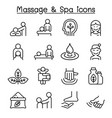massage spa icon set in thin line style vector image vector image