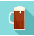 Mug of brown beer icon flat style