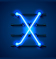 neon font letter x art design signboard vector image vector image