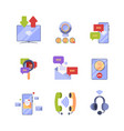 online communication ads icon set concept vector image vector image