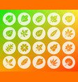 organic leaf shape carved flat icons set vector image vector image