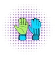 Protective soccer gloves icon comics style vector image vector image