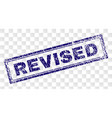 scratched revised rectangle stamp vector image vector image
