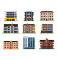 set isolated modern hotel buildings vector image vector image