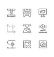 set line icons of laser cutting vector image vector image
