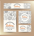 Set of cards with bakery products