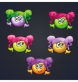 Set of smilies girls with different emotions for vector image vector image