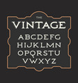 set of vintage letters retro latin vector image