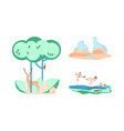 set with forest and wild animals in flat design vector image