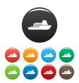 ship cruise icons set color vector image vector image