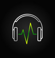 silver headphone with green music wave vector image